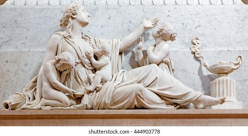 BRESCIA, ITALY - MAY 22, 2016: The Compassion statue on the tomb of bishop G. M. Nava in Duomo Nuovo by Gaetano Monti (1776-1847).