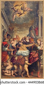 BRESCIA, ITALY - MAY 22, 2016: The painting Massacre of the Innocent in church Chiesa di Santa Maria del Carmine (holy Innocents chapel) by Pietro Marone (1548 - 1625).
