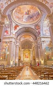 BRESCIA, ITALY - MAY 22, 2016: The nave of church Chiesa di Christo Re with the frescoes by Vittorio Trainini (1936).