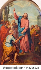 BRESCIA, ITALY - MAY 22, 2016: The painting Jesus consigning the keys to Peter in church Chiesa di Santa Maria dei Miracoli by E. Albricci ( 1717 - 1775)
