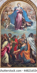 BRESCIA, ITALY - MAY 22, 2016: The painting of Assumption of Virgin Mary in church Chiesa di Santa Maria dei Miracoli by Pietro Marone (1548 - 1603).