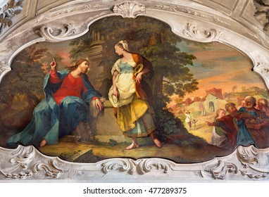 BRESCIA, ITALY - MAY 22, 2016: Painting of Jesus and Samaritans at well scene in the church Chiesa di Santa Maria dei Miracoli by Enrico Albricci (1749 - 1754)