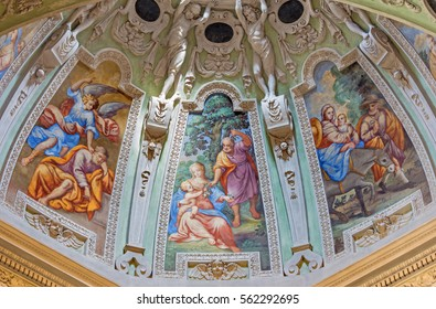 BRESCIA, ITALY - MAY 22, 2016: The fresco of stories of Holy Family in apse of St. Joseph chapel in church Chiesa di San Francesco d'Asissi by unknown artist of 16. cent.