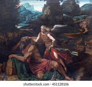 BRESCIA, ITALY - MAY 23, 2016: The painting Prophet Elijah Receiving Bread and Water from an Angel in church Chiesa di San Giovanni Evangelista by by Alessandro Bonvicino - Moretto (1498 - 1554).