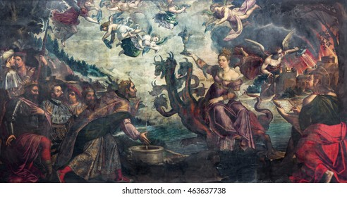BRESCIA, ITALY - MAY 23, 2016: The painting of Apocalyptic vision The courtesan Babylon sitting on the dragon in church Chiesa di San Giovanni Evangelista by Grazio Cossali (middle of 16. cent.)