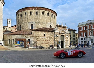 Brescia, Italy - May 31, 2016 Historic car behind the old Cathedral of Brescia, Italy on May 31, 2016