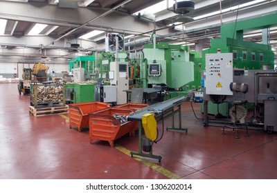 BRESCIA, ITALY - November 26, 2018 - The core business of this company consists of the production of mechanical components in non-ferrous metals for many industrials sectors - Workshop: metal forming