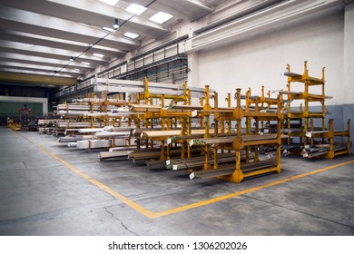 BRESCIA, ITALY - November 26, 2018 - The core business of this company consists of the production of mechanical components in non-ferrous metals for many industrials sectors - Workshop - Warehouse