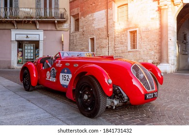Brescia - Italy. October 21, 2020: The historic Mille Miglia car race. Vintage car on display in the city center before the race