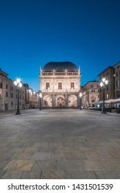Brescia, Italy - October 31, 2017: Piazza della Loggia square illuminated at night with no people