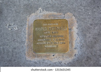 "BRESCIA, LOMBARDY, ITALY - 12 FEBRUARY 2019: ""Stumbling blocks"" in Brescia, Italy. Plate inscribed with the name and dates of life of the victim of Nazi persecution."