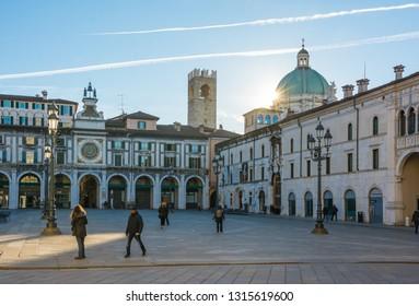 Brescia, Lombardy, Italy - February 12, 2019. Piazza della Loggia in Brescia in the early hours of a winter morning.