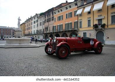 Brescia/Italy - May 17, 2017: Alfa Romeo classic car in Brescia for the start of the Mille Miglia race