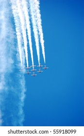 BRESLAU, ON, CANADA - JUNE 20: The Canadian Snowbirds Demonstration Team performs at the Waterloo Aviation Expo and Air Show on June 20, 2010 in Breslau, Ontario.