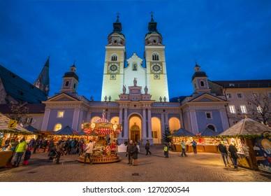 Bressanone Christmas market in the evening. Trentino Alto Adige, northern Italy. December-18-2018