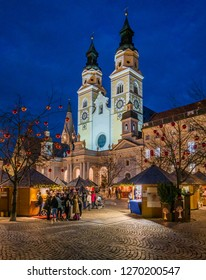 Bressanone Christmas market in the evening. Trentino Alto Adige, northern Italy. December-18-2018