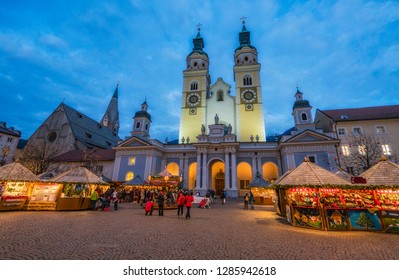Bressanone Christmas market in the evening. Trentino Alto Adige, northern Italy.