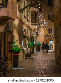 Bressanone during Christmas time in the evening. Trentino Alto Adige, northern Italy. December-18-2018
