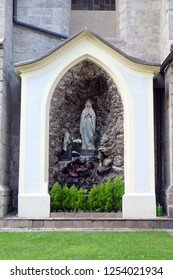 BRESSANONE, ITALY - JULY 14, 2018: Cave of Our Lady of Lourdes, Cathedral of Santa Maria Assunta i San Cassiano in Bressanone, Italy