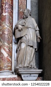 BRESSANONE, ITALY - JULY 14, 2018: Blessed Hartmann of Brixenstatue on the altar in the Cathedral of Santa Maria Assunta i San Cassiano in Bressanone, Italy