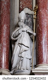 BRESSANONE, ITALY - JULY 14, 2018: Saint Ingenuinus statue on the Cassian altar in the Cathedral of Santa Maria Assunta i San Cassiano in Bressanone, Italy