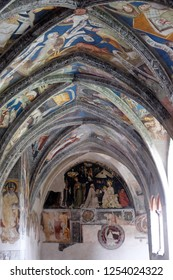 BRESSANONE, ITALY - JULY 14, 2018: Frescoes in the cloister, Cathedral of Santa Maria Assunta and San Cassiano in Bressanone, Italy