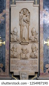 BRESSANONE, ITALY - JULY 14, 2018: A memorial tablet in the Cathedral of Santa Maria Assunta i San Cassiano in Bressanone, Italy