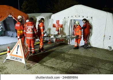 BRESSANONE, ITALY - NOVEMBER 16, 2014: Triage tent camp for flood affected victims, a mobile medical unit of red cross. Hospital field tent for the first AID on November 16, 2014.