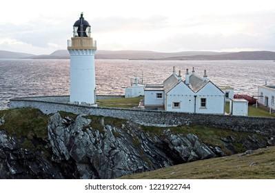 Bressay Lighthouse, overlooking Bressay Sound, the southern entrance into Lerwick Harbour, Shetland, Scotland, UK.
