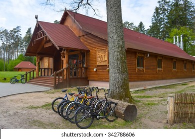 Brest, Belarus - 06/10/2015: The restaurant is made of wood in the Belovezhskaya Pushcha nature reserve.