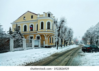 Brest, Belarus - 2021, 25 December: The historic building that currently houses the Russian consulate in Brest. Winter in the city.