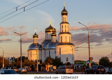 Brest, Belarus - 4 October, 2018: The church in evening - memorial temple in honor of the 50th anniversary of the Victory in the Great Patriotic War of 1941-1945.