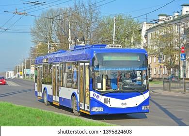 BREST, BELARUS - APRIL 14, 2018 - A modern Belkommunmash BKM-321 trolleybus in the centre of Brest