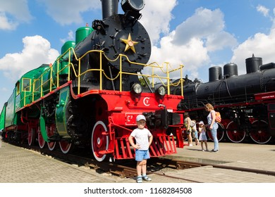 Brest, Belarus - August 18, 2018: Museum of steam locomotives in Brest. The exposition of the museum has more than 60 railway vehicles.