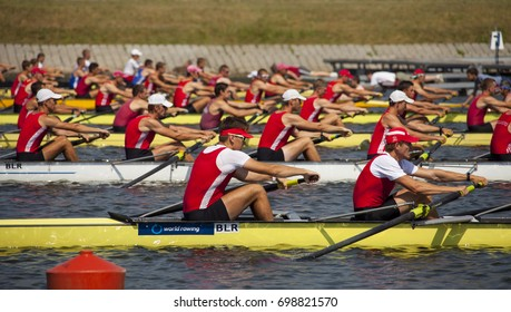 Brest, Belarus - August 2017. Rowing channel. National championship in rowing. Athletes during the competition.