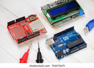 Brest, Belarus - August 22, 2017: Arduino UNO PCB board and another shields for programming education development