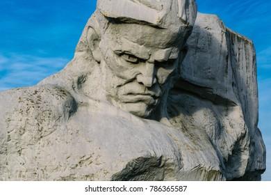 "BREST, BELARUS - DECEMBER 29, 2017: Monument ""Courage"" in the Brest Fortress"