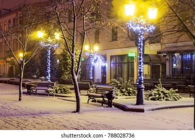BREST, BELARUS - December 31, 2017: Sovetskaya street Christmas decoration and snow.