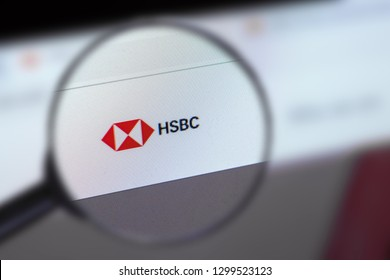 Brest, Belarus, January 22, 2019. The main page of the site HSBC Holdings, view through a magnifying glass. HSBC Holdings logo company visible. Soft focus.
