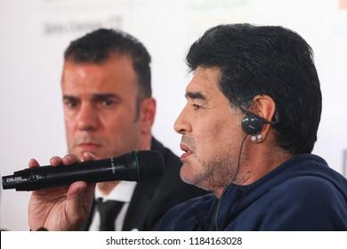 Brest, Belarus - July 16,2018 : Legendary argentine footballer Diego Maradona during a press conference