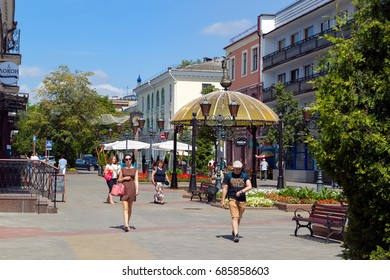 Brest, Belarus - July 22, 2017: Pedestrian street Sovetskaya is a favorite place for walking tourists and residents of the city of Brest.