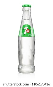 Brest, Belarus - May 27, 2018: 7up glass bottle produced by PepsiCo isolated on white background