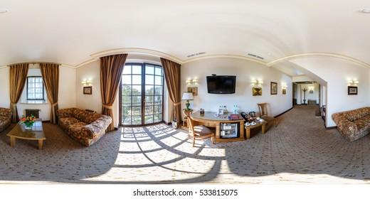 BREST, BELARUS - NOVEMBER 11, 2015: Full 360 degree panorama in equirectangular spherical projection in interier luxury loft room in Hermitage Hotel