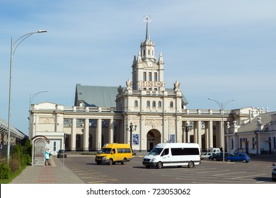 BREST, BELARUS - September 26, 2017: Panorama of railway station building in Brest.