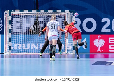 Brest, France - December 01, 2018: The handball player Eliza Buceschi shoot from 7m line during the game between Romania and Czech Republic at Handball European Championship - Preliminary Round.