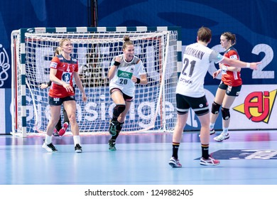 Brest, France - December 01, 2018: The handball player BÖLK Emily  happy that she scores during the game between Norway and Germany  at Handball European Championship - Preliminary Round.