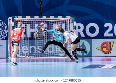 Brest, France - December 01, 2018: The handball player BÖLK Emily  shoot to score during the game between Norway and Germany  at Handball European Championship - Preliminary Round.