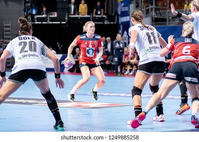 Brest, France - December 01, 2018: The Norwegian handball player KRISTIANSEN Veronica during the game between Norway and Germany  at Handball European Championship - Preliminary Round.