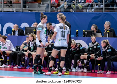 Brest, France - December 01, 2018: The coach GROENER Henk with players SMITS Xenia and BÖLK Emily during the game between Norway and Germany  at Handball European Championship - Preliminary Round.