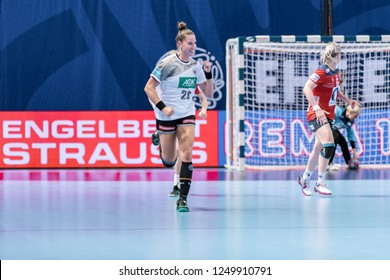 Brest, France - December 01, 2018: The handball player BÖLK Emily happy during the game between Norway and Germany  at Handball European Championship - Preliminary Round.